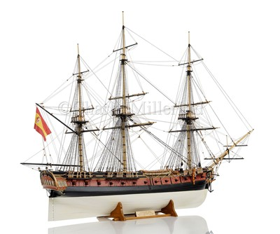 Lot 45-A FINELY DETAILED 1:48 SCALE MODEL OF THE 40-GUN SPANISH FRIGATE SANTA LEOCARDIA, ORIGINALLY BUILT 1777