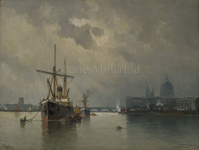 Lot 29-PAUL VILLARS (FRENCH, 19TH/20TH CENTURY); Shipping in the Pool of London with St Paul's and London Bridge beyond