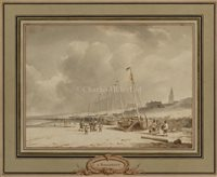 Lot 4-ANDREAS SCHELFHOUT (DUTCH, 1787-1870)<br/>Beached...