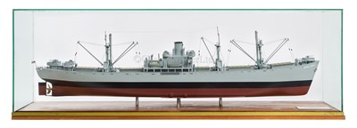 Lot 34-A WELL-PRESENTED 1:48 SCALE BUILDER'S STYLE  MODEL OF LIBERTY SHIP JEREMIAH O'BRIEN BUILT BY THE NEW ENGLAND SHIPBUILDING CORP., SOUTH PORTLAND, MAINE FOR THE US GOVERNMENT IN 56 DAYS , 1943