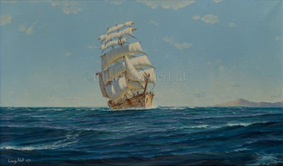 Lot 20-δ EDWIN HALL (BRITISH, 20TH CENTURY): A windjammer off Tenerife