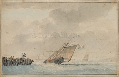 Lot 1-ATTRIBUTED TO DOMINIC SERRES (BRITISH, 1722-1793): An armed Dutch cutter beating out to sea