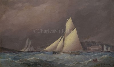 Lot 5-GEORGE SULLIVAN (BRITISH, 19TH CENTURY) A cutter yacht off Cowes Castle, Isle of Wight
