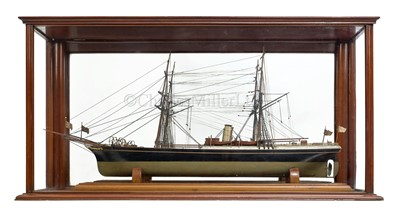 Lot 22-A LATE 19TH CENTURY WELL-PRESENTED MODEL OF THE S.S. MIRANDA, CHARTERED BY THE CONTROVERSIAL POLAR EXPLORER 'DR.' FREDERICK COOK, 1894