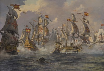 Lot 36-δ KENNETH JEPSON (BRITISH, 1932-1998): Sir Richard Grenville's 'Revenge' in her last fight off the Azores, 31st August, 1591