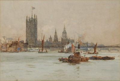 Lot 8-CHARLES DIXON (BRITISH, 1872-1934): Shipping on the River Thames with the Palace of Westminster and Lambeth Bridge beyond
