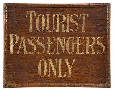 Lot 186 - A WOODEN SIGN BELIEVED TO BE FROM R.M.S. 'MAURETANIA', PROBABLY CIRCA 1930