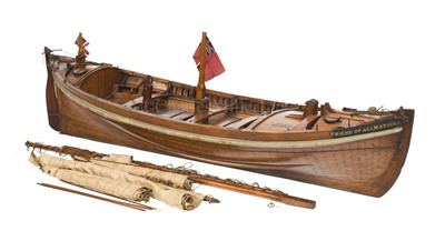 Lot 12-AN HISTORICALLY INTERESTING LUGGER LIFEBOAT MODEL BUILT BY H. TWYMAN FOR THE INTERNATIONAL EXHIBITION, LONDON, 1862