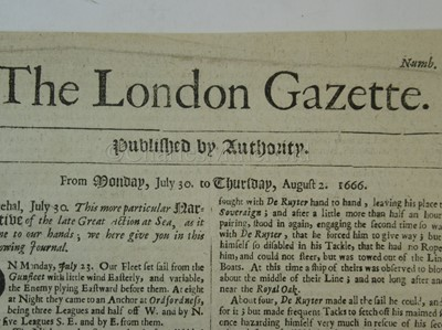 Lot 40-THE LONDON GAZETTE: AN ACCOUNT OF THE ST JAMES'S DAY BATTLE / BATTLE OF ORFORDNESS, 4TH AUGUST 1666