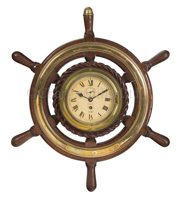 Lot 187 - A BULKHEAD SHP'S CLOCK, BELIEVED TO BE FROM R.M.S. MAURETANIA (1906) AND PRESENTED 1950