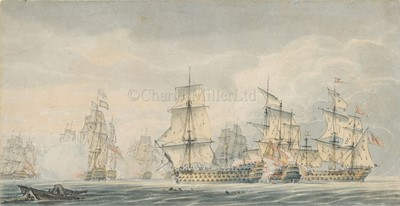 Lot 61 - ROBERT CLEVELEY (BRITISH, 1747-1809); The Battle of Cape St. Vincent, a pair of watercolours