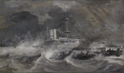 Lot 183 - FRED T. JANE (BRITISH, 1865-1916): Torpedo boat 65 and H.M.S. 'Sans Pareil'