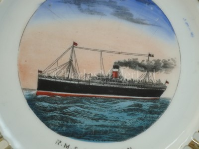 Lot 3-An Allan Line (Royal Mail Steamers) ribbon plate, from R.M.S. 'Corsican'
