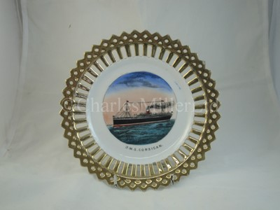Lot 1 - An Allan Line (Royal Mail Steamers) ribbon plate, from R.M.S. 'Corsican'