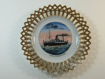 Lot 4-An Allan Line (Royal Mail Steamers) ribbon plate, from S.M.S. 'Virginian'