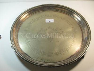 Lot 42-A Clyde Shipping Company Ltd plated serving tray, with three feet
