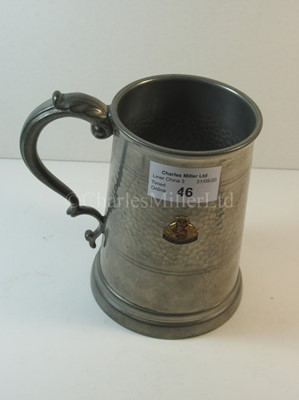 Lot 46-A Cunard souvenir pewter tankard, from R.M.S. 'Queen Mary'