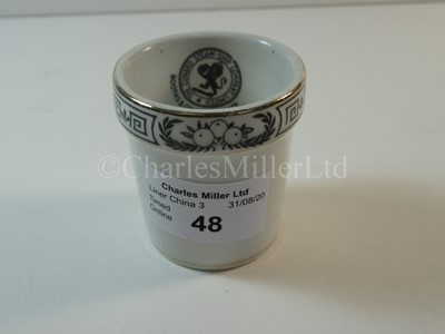 Lot 48-A Cunard Steam Ship Company Limited egg cup, 'Aquitania' pattern used on the 'Queen Mary'