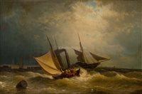 Lot 39-HERMANN MEVIUS, (GERMAN, 1820-1864)<br/>A paddle...