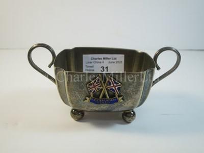 Lot 31 - A Union Castle Line souvenir plated sugar bowl, from R.M.S. 'Balmoral Castle'