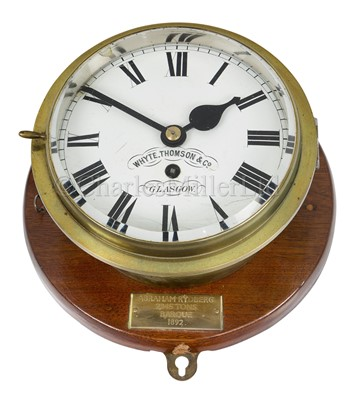 Lot 18-AN EIGHT-DAY SHIP'S CLOCK FROM THE BARQUE ABRAHAM RYDBERG, 1892