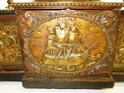 Lot 151 - A RARE CIGAR AND CIGARETTE CASKET MADE FROM OAK AND COPPER SALVAGED FROM H.M.S. FOUDROYANT