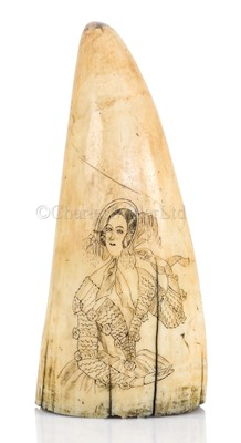 Lot 46-Ø A  SAILOR'S SCRIMSHAW DECORATED WHALE'S TOOTH, CIRCA 1840