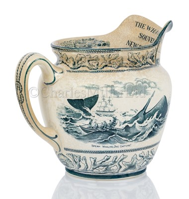 Lot 44-AN ATTRACTIVE JUG COMMEMORATING THE NEW BEDFORDSHIRE WHALING INDUSTRY, CIRCA 1907