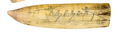 Lot 48-Ø A SCRIMSHAW DECORATED WHALE'S TOOTH