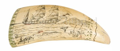 Lot 47-Ø A SCRIMSHAW DECORATED WHALE'S TOOTH