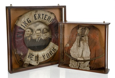 Lot 65 - RELICS OF THE S.S. 'FLYING ENTERPRISE': A LIFE PRESERVER AND A LIFEBUOY