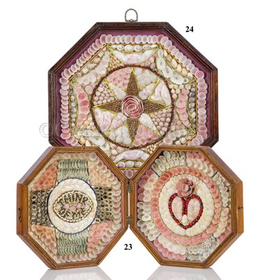 Lot 24-A 19TH CENTURY SAILOR'S SHELLWORK VALENTINE