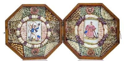 Lot 22-A RARE AMERICAN DOUBLE SHELLWORK VALENTINE WITH SAILOR'S WATERCOLOUR INSERTS, CIRCA 1840