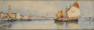 Lot 1-THOMAS BUSH HARDY (BRITISH, 1842–1897) : Shipping by the Guidecca, Venice
