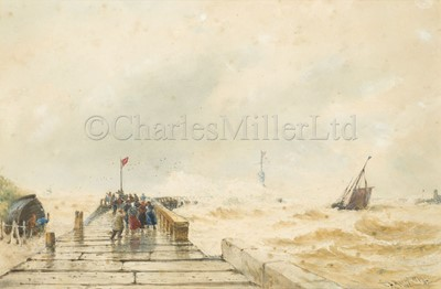 Lot 21 - THOMAS BUSH HARDY (BRITISH, 1842-1897) : Mouth of Boulogne Harbour
