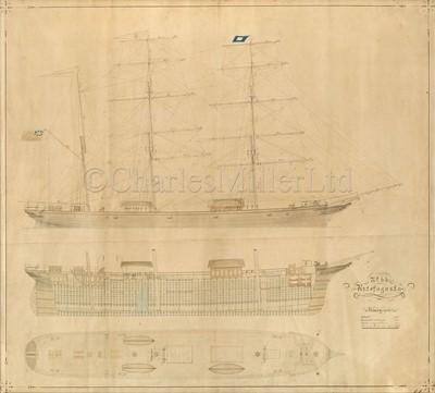 Lot 2 - THE SHIPBUILDER'S PROFILE PLANS FOR THE IRON BARQUE ANTOFAGASTA, WILLIAM DOXFORD & SONS, 1875