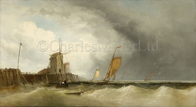 Lot 25 - JAMES WEBB (BRITISH, 1825-1895) : Luggers off a jetty