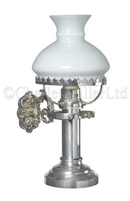 Lot 34 - A FINE 19TH CENTURY NICKEL-PLATED GIMBALLED CANDLE LAMP