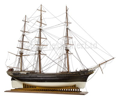Lot 16 - AN IMPRESSIVE 19TH-CENTURY DOCKYARD-TYPE MODEL FOR A THREE-MASTER IDENTIFIED AS THE 'NEGRISUOLA', 1873