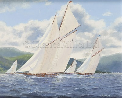 Lot 31 - STEVEN J. RENARD (BRITSH, B. 1947) : 'Westward' leading 'Lulworth' with 'Britannia' and 'Cambria' off Hunter's Quay; 'Vigilant' and 'Britannia' on the Solent, 1894