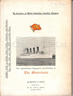 Lot 150 - AUCTION CATALOGUE OF THE APPOINTMENTS, EQUIPMENT AND PANELLING OF THE MAURETANIA