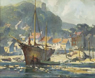Lot 6 - LESLEY ARTHUR WILCOX (BRITISH, 1904-1982) : Safe harbour; Anti-fowling on a Cornish beach