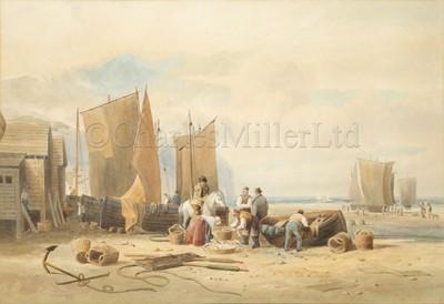 Lot 23 - ATTRIB. TO THOMAS MILES RICHARDSON JR (BRITISH, 1813-1890) : Sorting fish, Northumberland