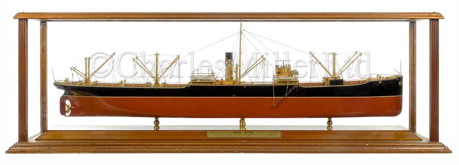 Lot 141 - A FINE AND ORIGINAL BUILDER'S MODEL FOR THE S.S. GENERAL CHURCH BUILT FOR THE BYRON S.S. CO. BY WILLIAM DOXFORD & SONS LTD, 1917