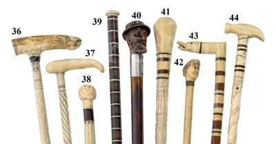 Lot 44 - Ø A 19TH CENTURY WHALEBONE AND MARINE IVORY SAILORWORK  WALKING STICK POSSIBLE FOR SHIPS CARPENTER