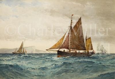 Lot 9 - FREDERICK JAMES ALDRIDGE (BRITISH, 1850-1933) In Seaford Bay – trawlers off Seven Sisters
