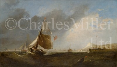 Lot 22 - CIRCLE OF WILLIAM CALLOW (BRITISH, 1812–1908) : Fishing boats at a harbour entrance