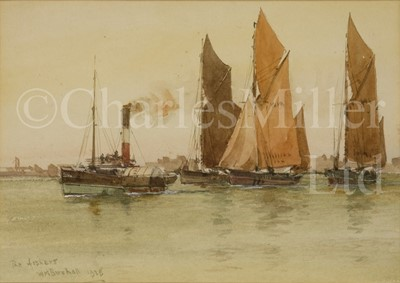 Lot 5 - WILLIAM STEPHEN TOMKIN, BRITISH (1861-1940) A hay barge approaching the Thames Estuary