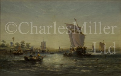Lot 6 - WILLIAM CALCOTT KNELL (BRITISH, 1830-1880) Estuary scene at sunset