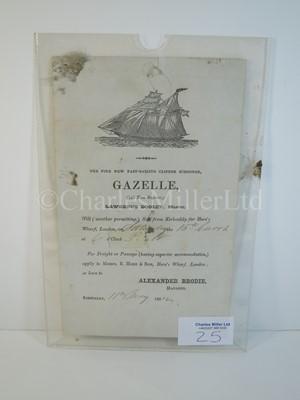 Lot 25 - An advertising letter for the clipper schooner 'Gazelle', dated 1852